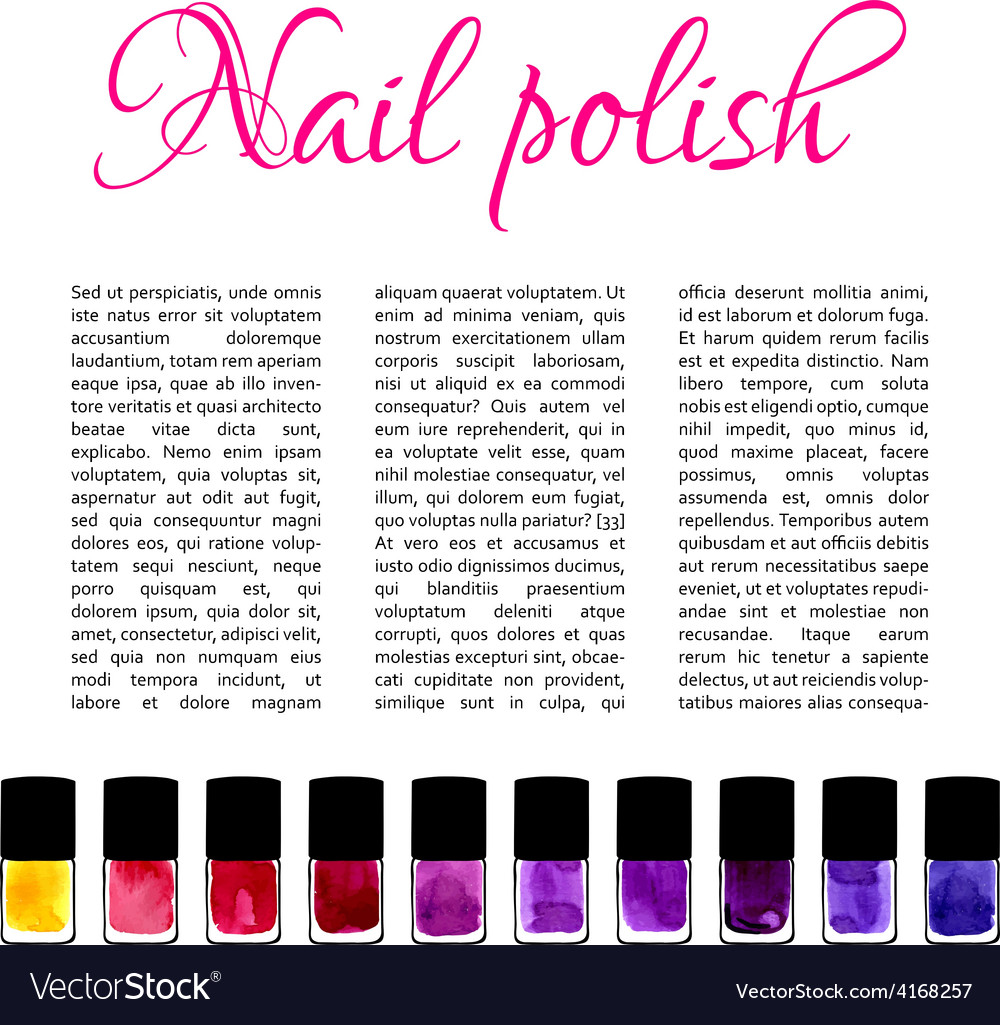 Background with watercolor painted nail polishes vector | Price: 1 Credit (USD $1)