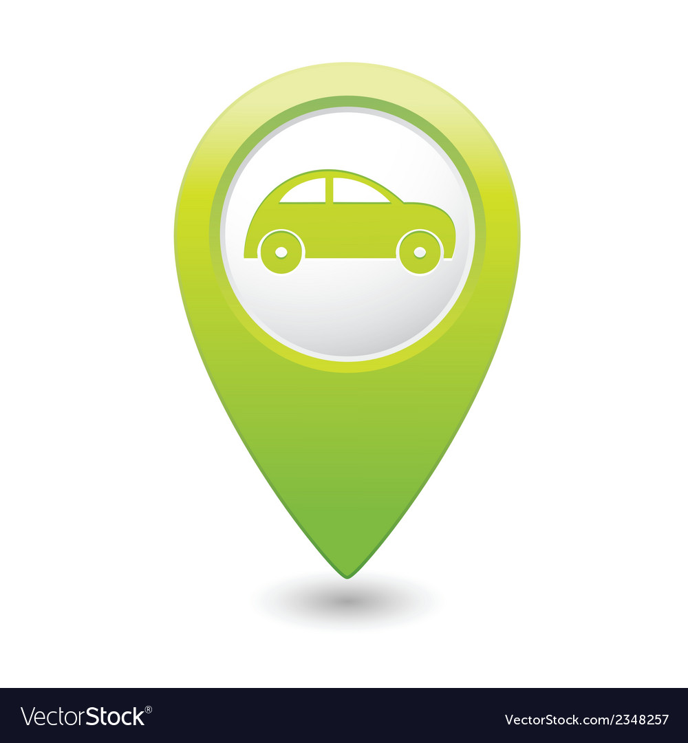 Car icon on map pointer green vector | Price: 1 Credit (USD $1)