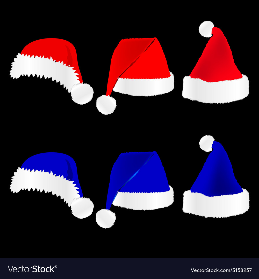 Christmas hat red and blue on black background vector | Price: 1 Credit (USD $1)