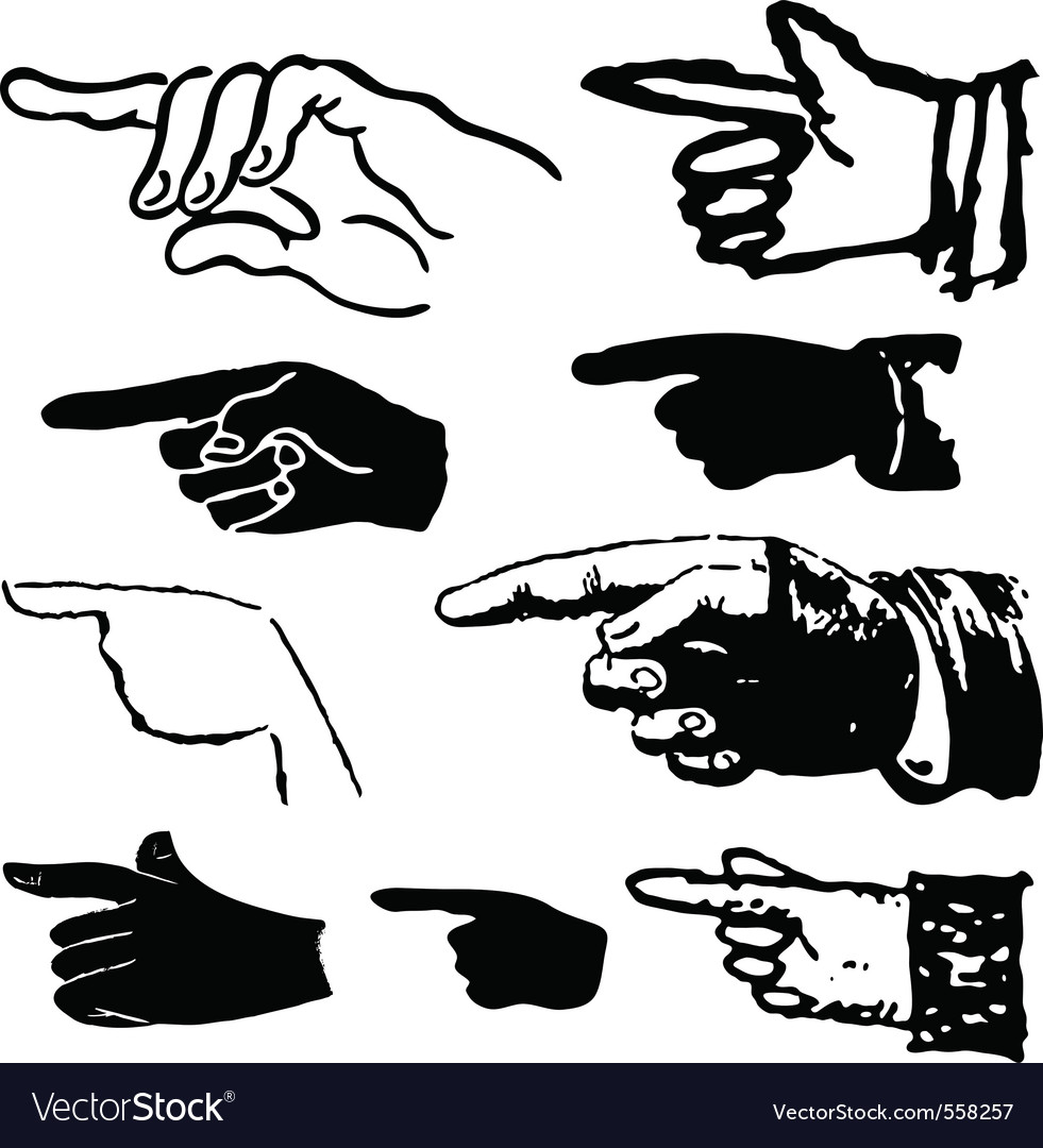 Collection set of hand gestures pointing vector | Price: 1 Credit (USD $1)