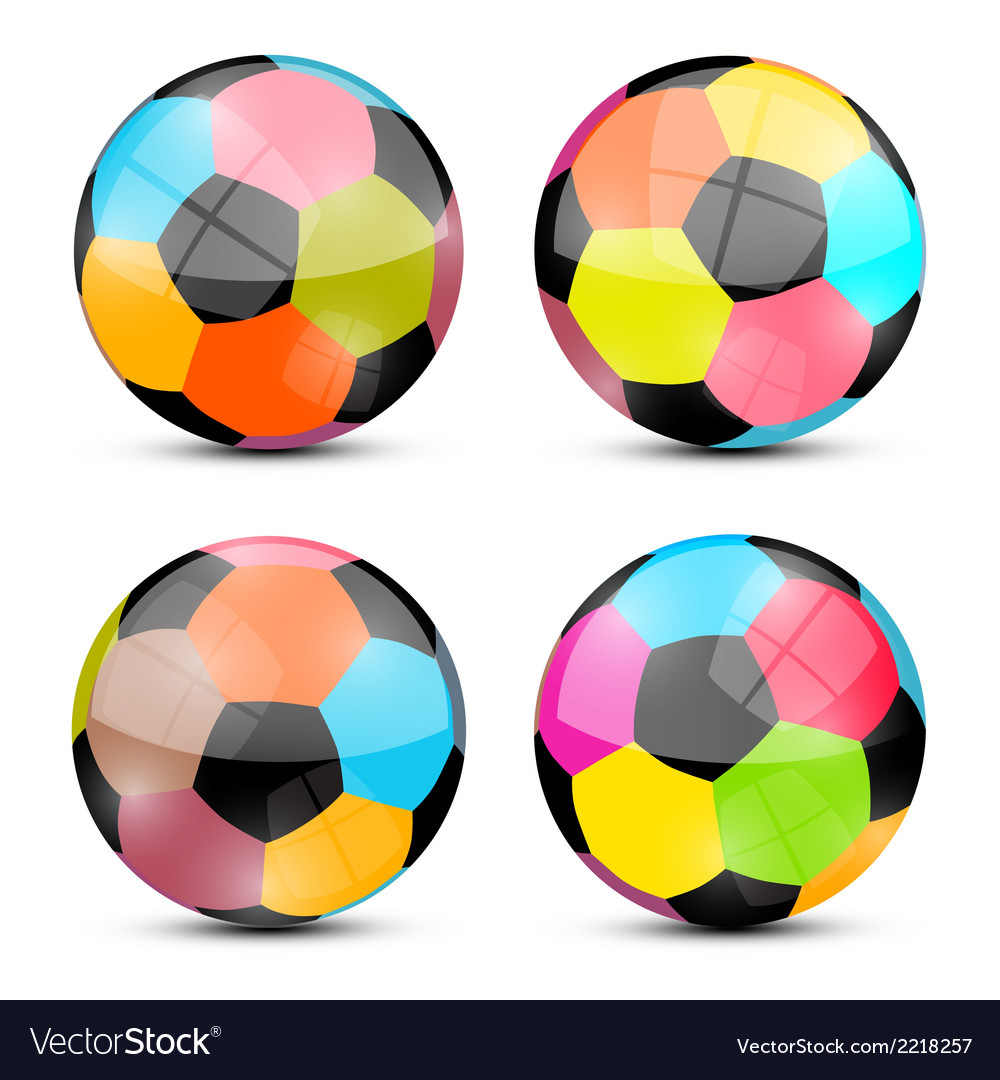 Colorful football balls set vector | Price: 1 Credit (USD $1)