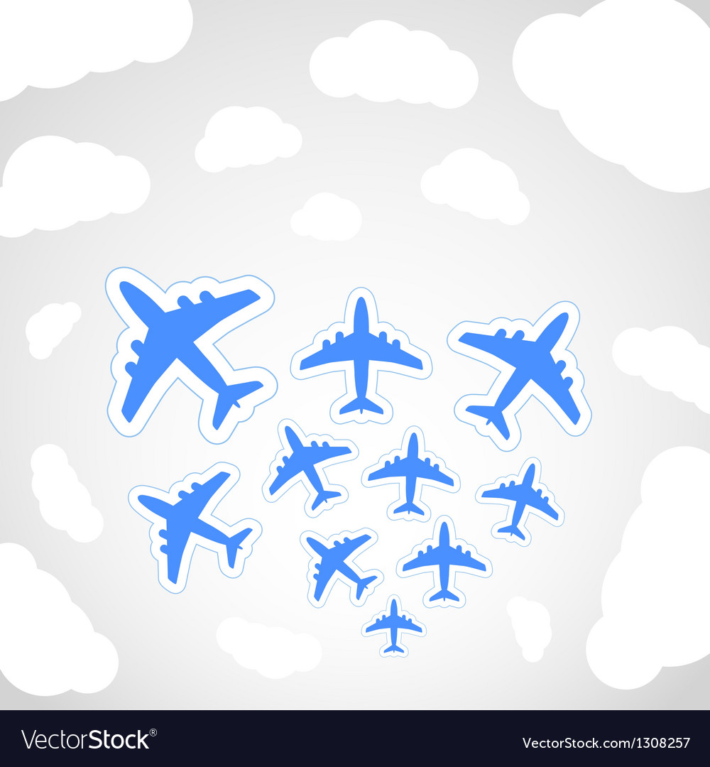 Flying airplanes vector | Price: 1 Credit (USD $1)
