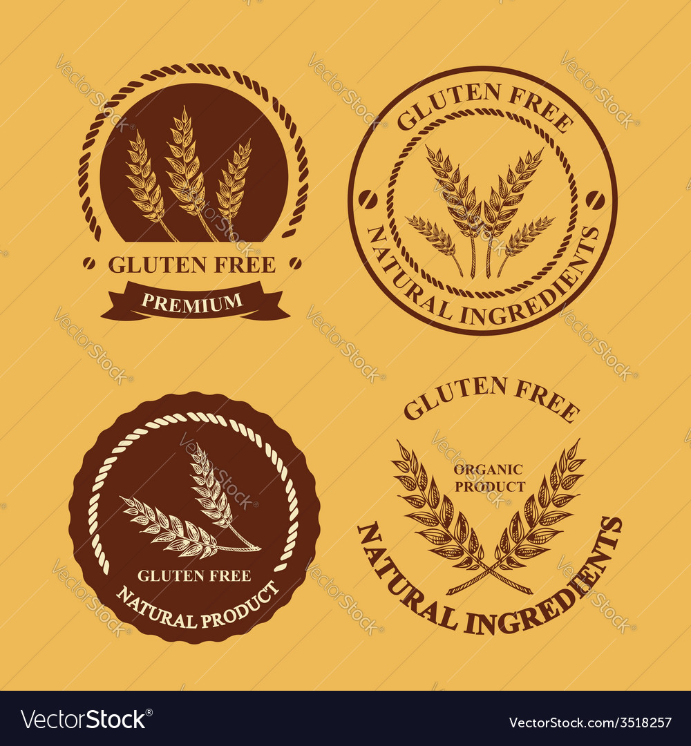 Gluten free and wheat labels retro design vector | Price: 1 Credit (USD $1)