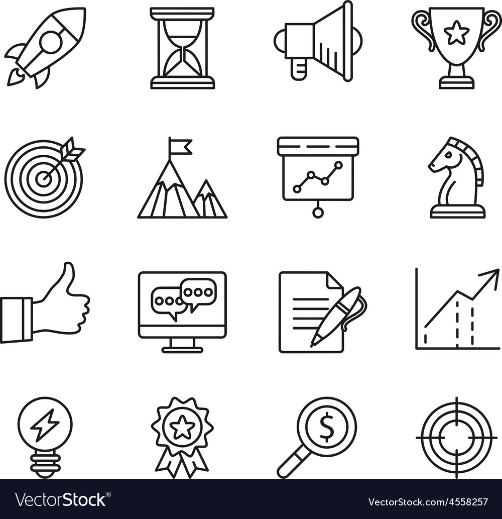 Goal startup business solution icons vector | Price: 1 Credit (USD $1)
