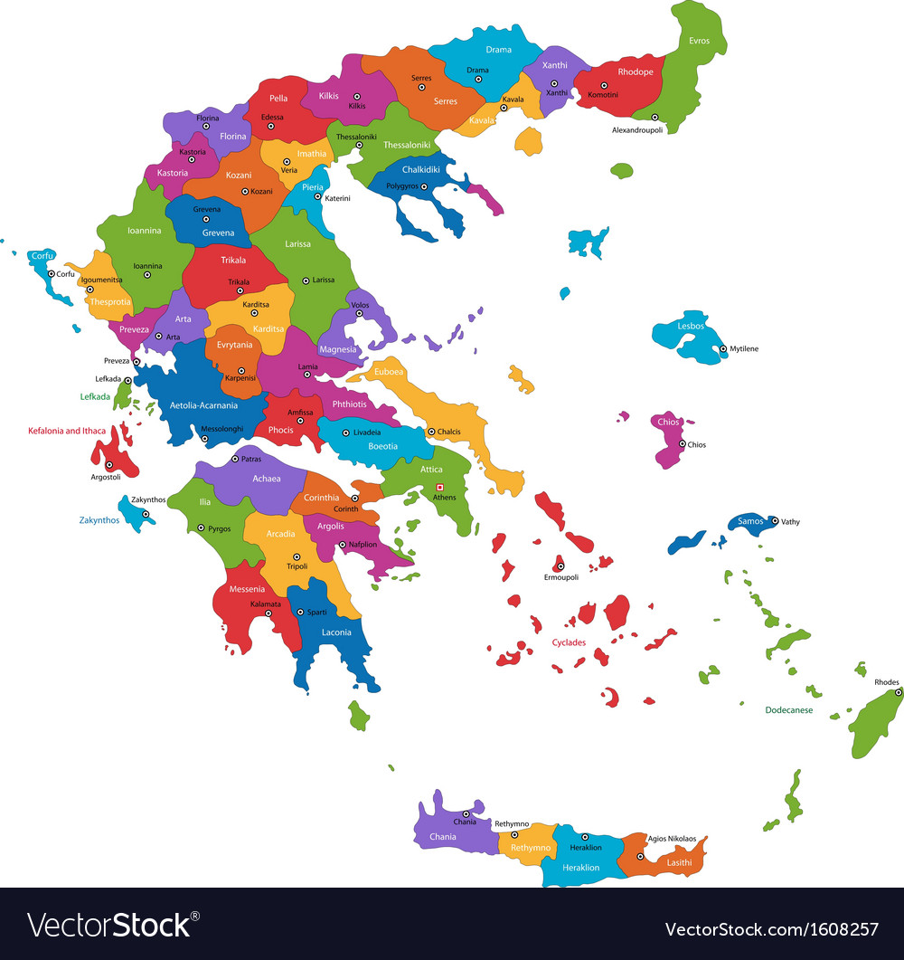 Greece map vector | Price: 1 Credit (USD $1)