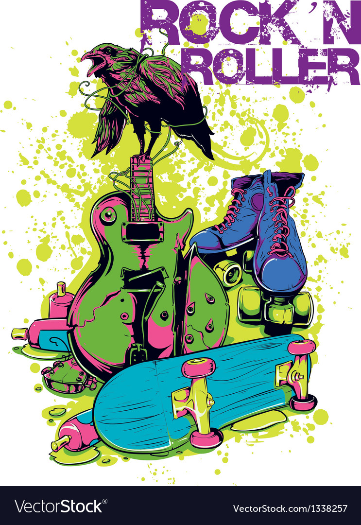 Rock n roller crow vector | Price: 3 Credit (USD $3)