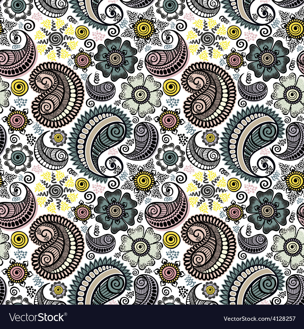 Seamless elegant paisley pattern vector | Price: 1 Credit (USD $1)