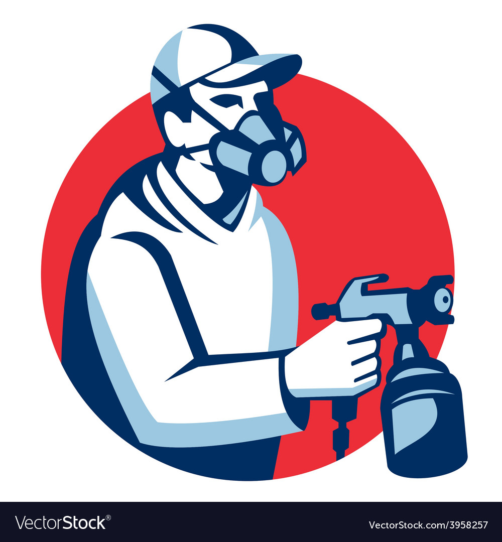 Spray painter spraying paint gun retro vector | Price: 1 Credit (USD $1)