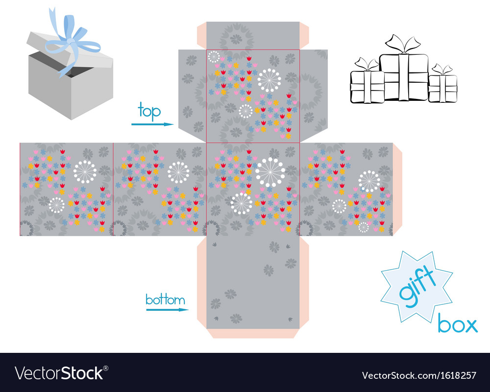 Template for cube gift box vector | Price: 1 Credit (USD $1)