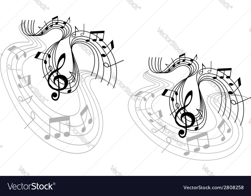 Abstract musical waves compositions vector | Price: 1 Credit (USD $1)