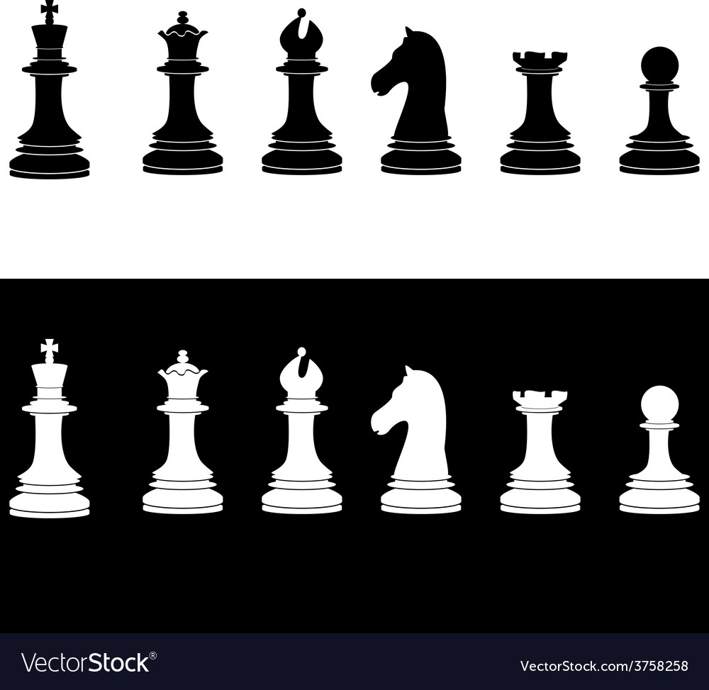 Black and white chess pieces vector | Price: 1 Credit (USD $1)