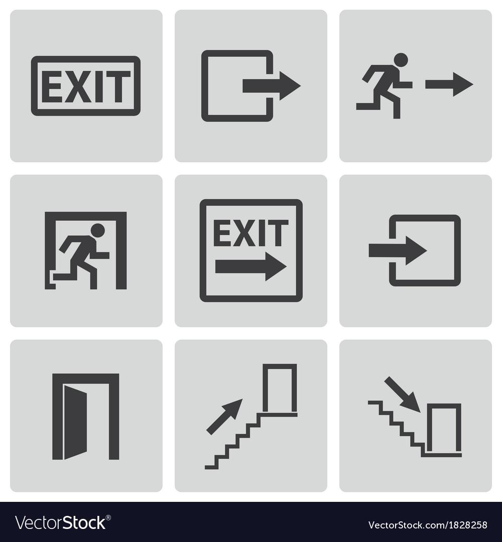 Black exit icons set vector | Price: 1 Credit (USD $1)