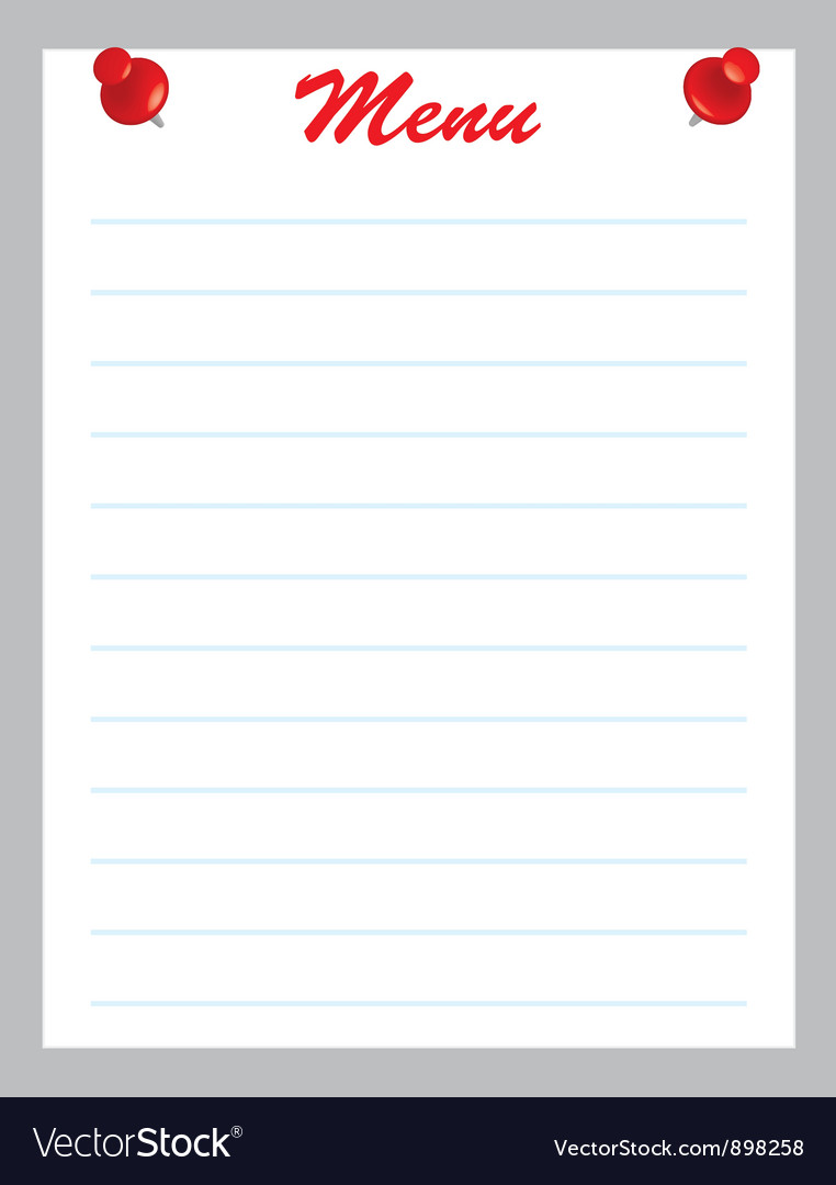 Blank menu page vector | Price: 1 Credit (USD $1)