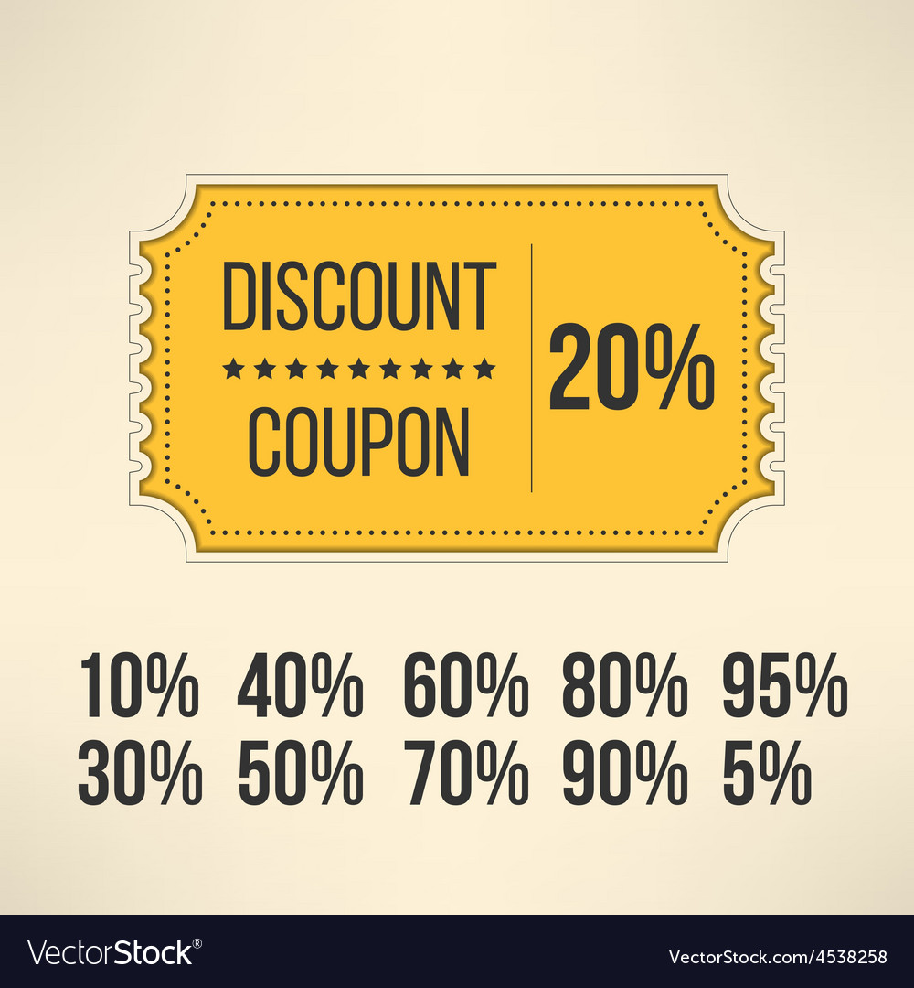 Discount promotion coupon in vintage design sale vector | Price: 1 Credit (USD $1)