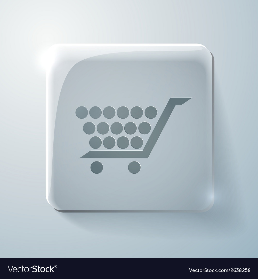 Glass icon with highlights cart online store vector   Price: 1 Credit (USD $1)