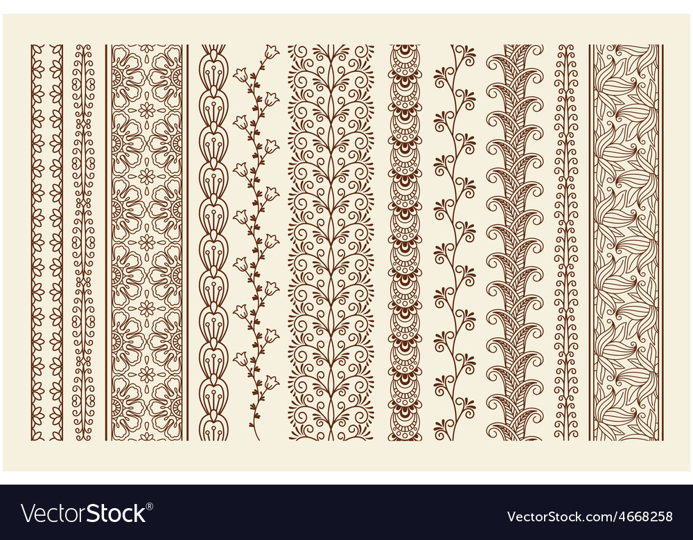 Hand drawn mehndi borders vector | Price: 1 Credit (USD $1)