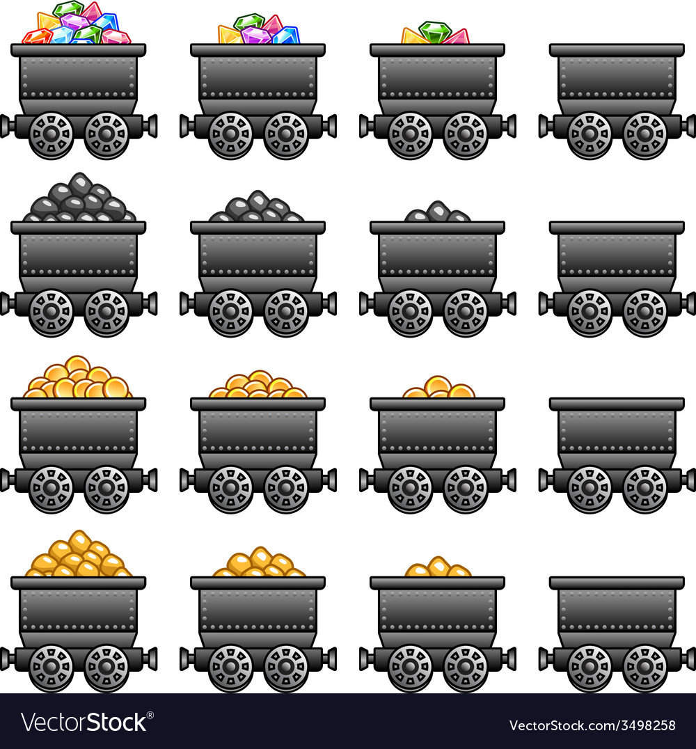 Iron mine cart set vector | Price: 1 Credit (USD $1)