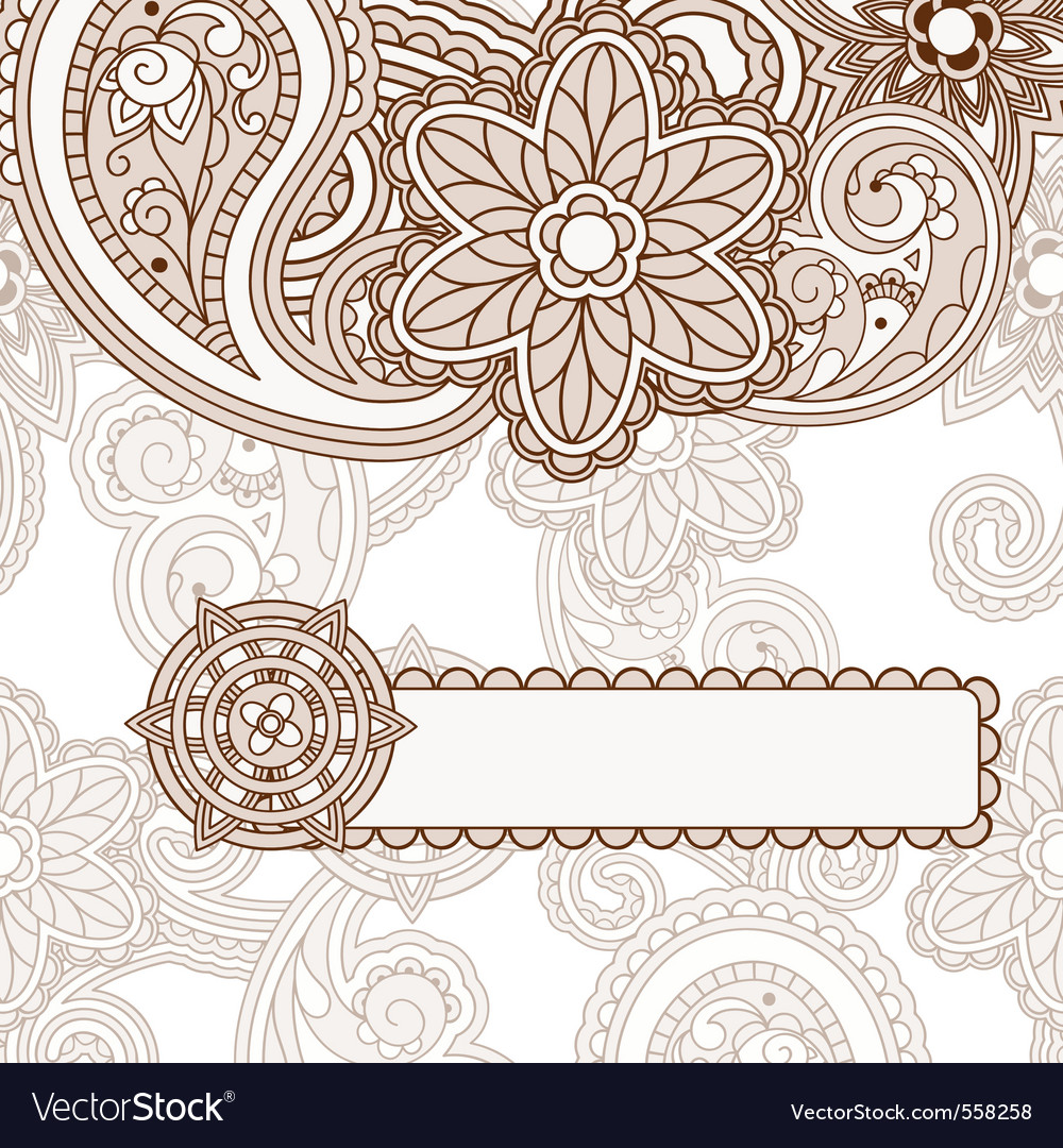 Paisley background frame vector | Price: 1 Credit (USD $1)