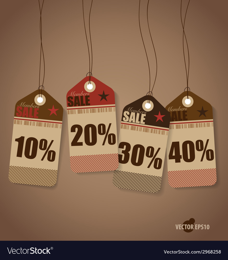 Price tag sale coupon voucher vintage style vector | Price: 1 Credit (USD $1)