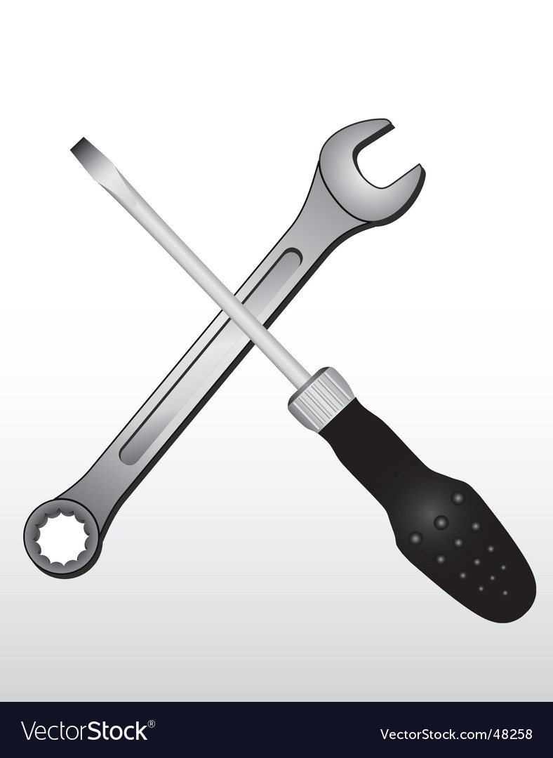 Spanner and screw driver vector | Price: 1 Credit (USD $1)