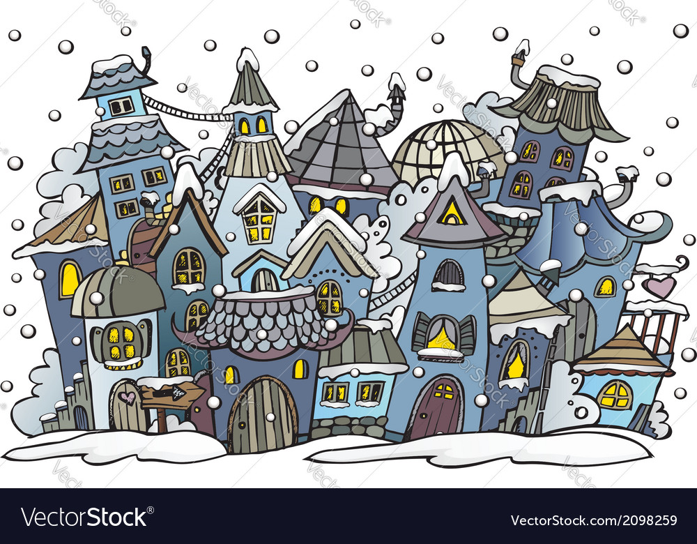 Cartoon winter fairytale town vector | Price: 1 Credit (USD $1)