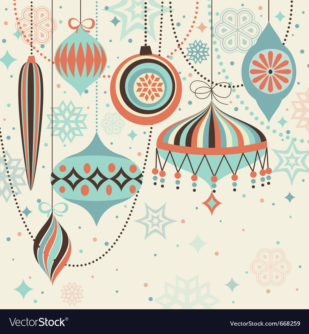 Christmas vintage card with baubles vector | Price: 1 Credit (USD $1)