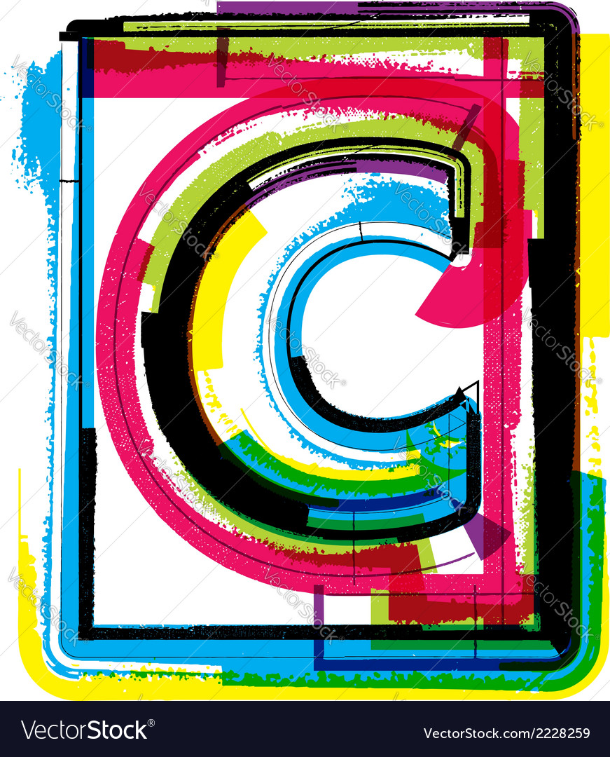 Colorful grunge font letter c vector | Price: 1 Credit (USD $1)