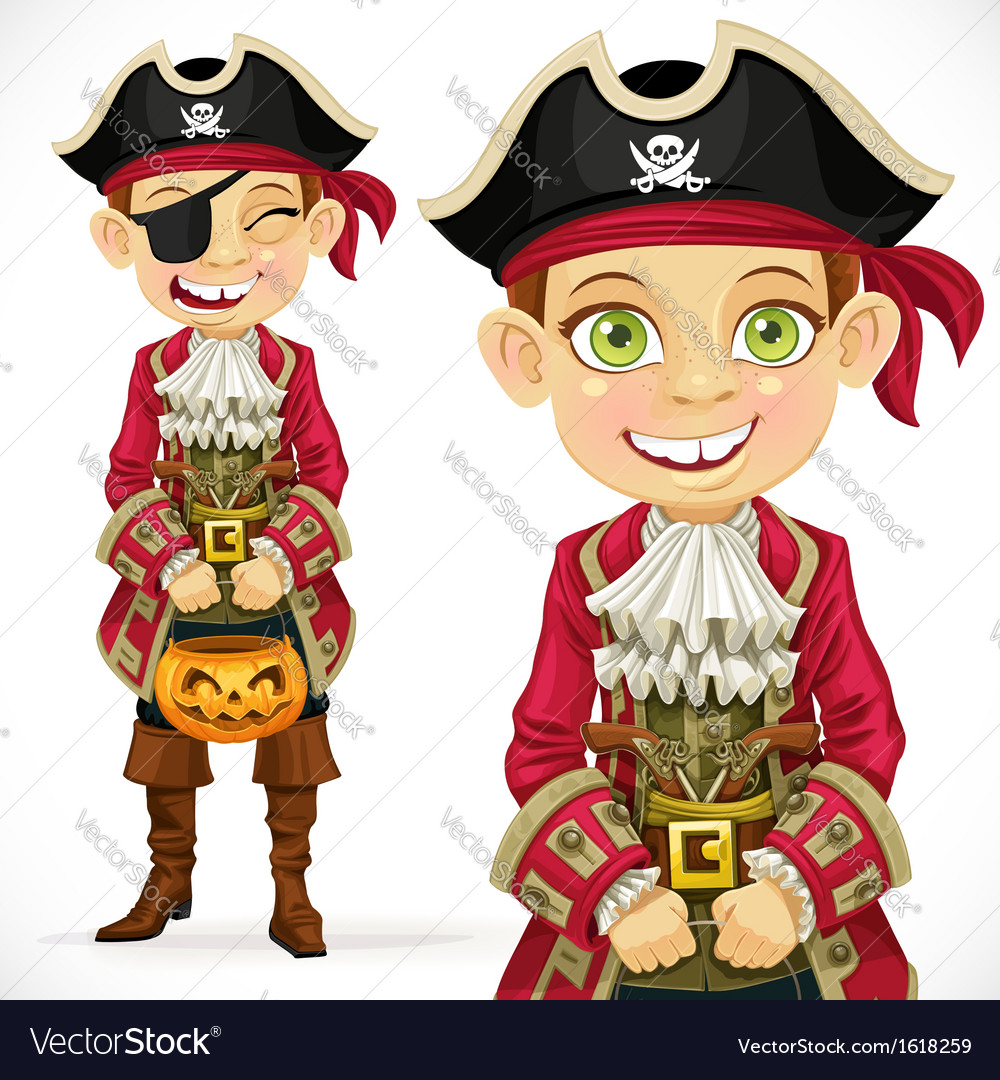 Cute boy dressed as pirate trick or treat vector | Price: 3 Credit (USD $3)