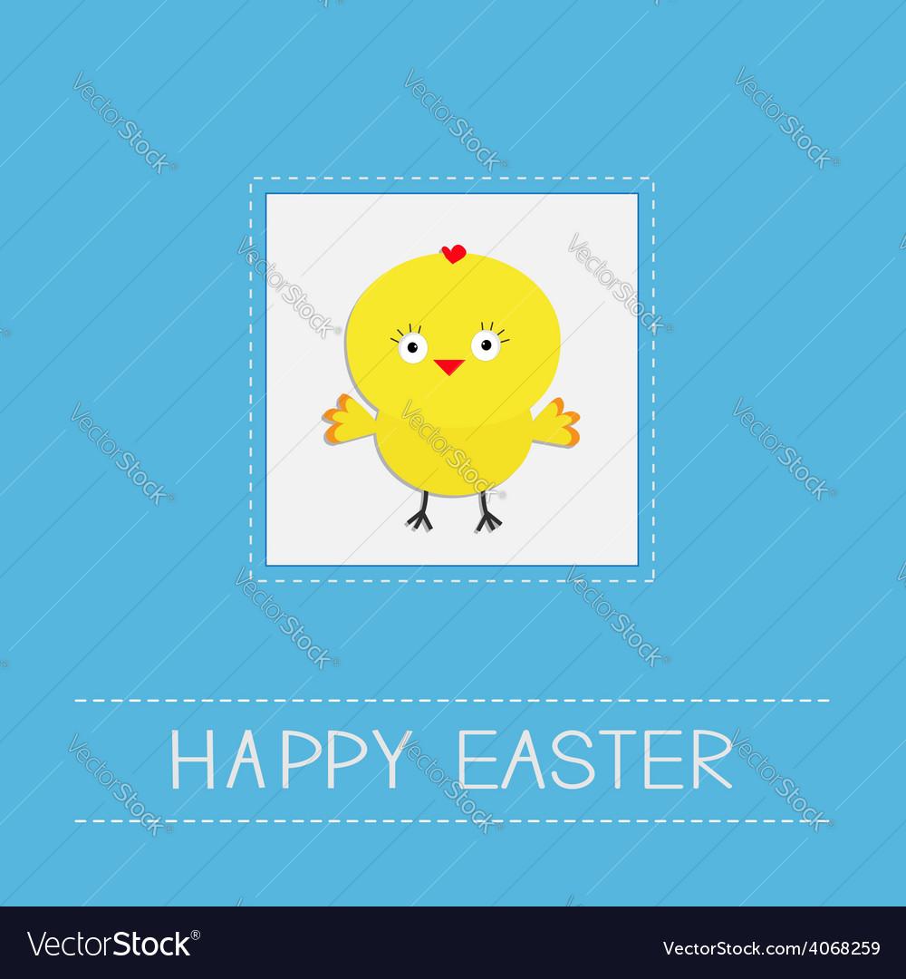 Easter chicken dash line frame blue background vector | Price: 1 Credit (USD $1)