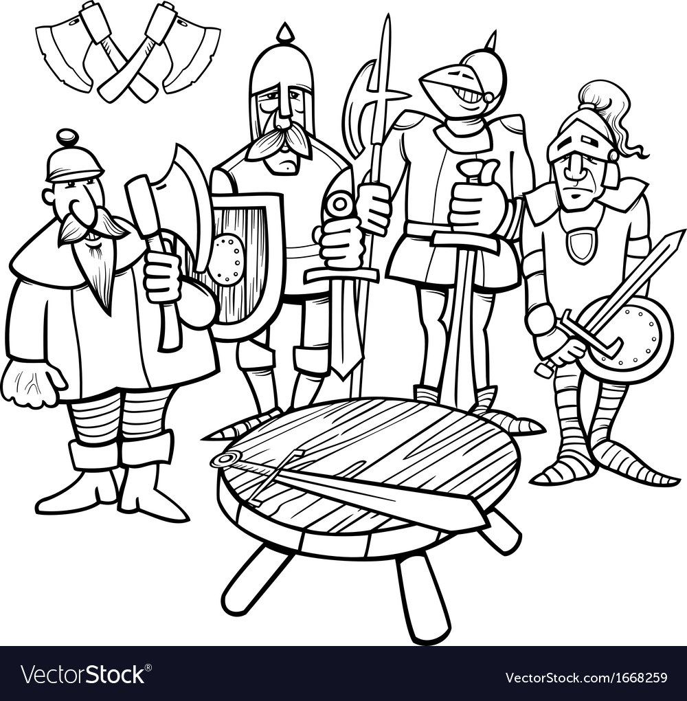 Knights of the round table coloring page vector | Price: 1 Credit (USD $1)