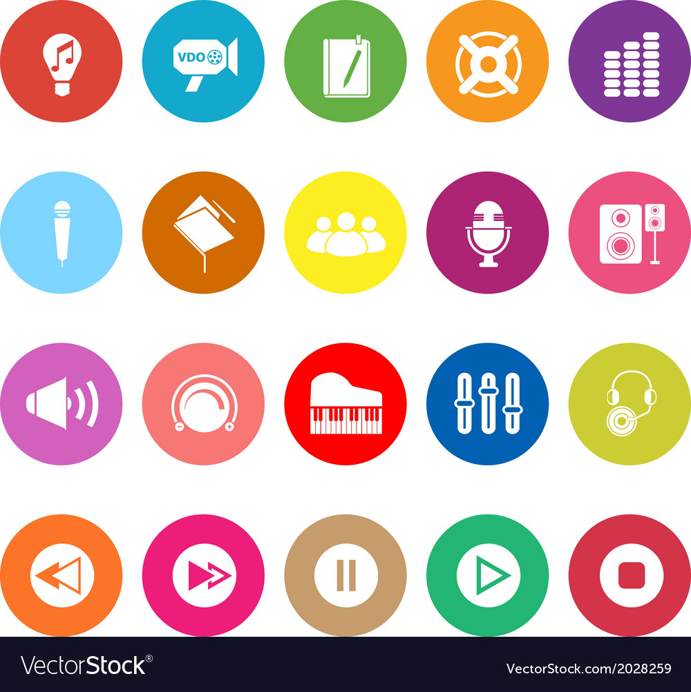 Music flat icons on white background vector | Price: 1 Credit (USD $1)