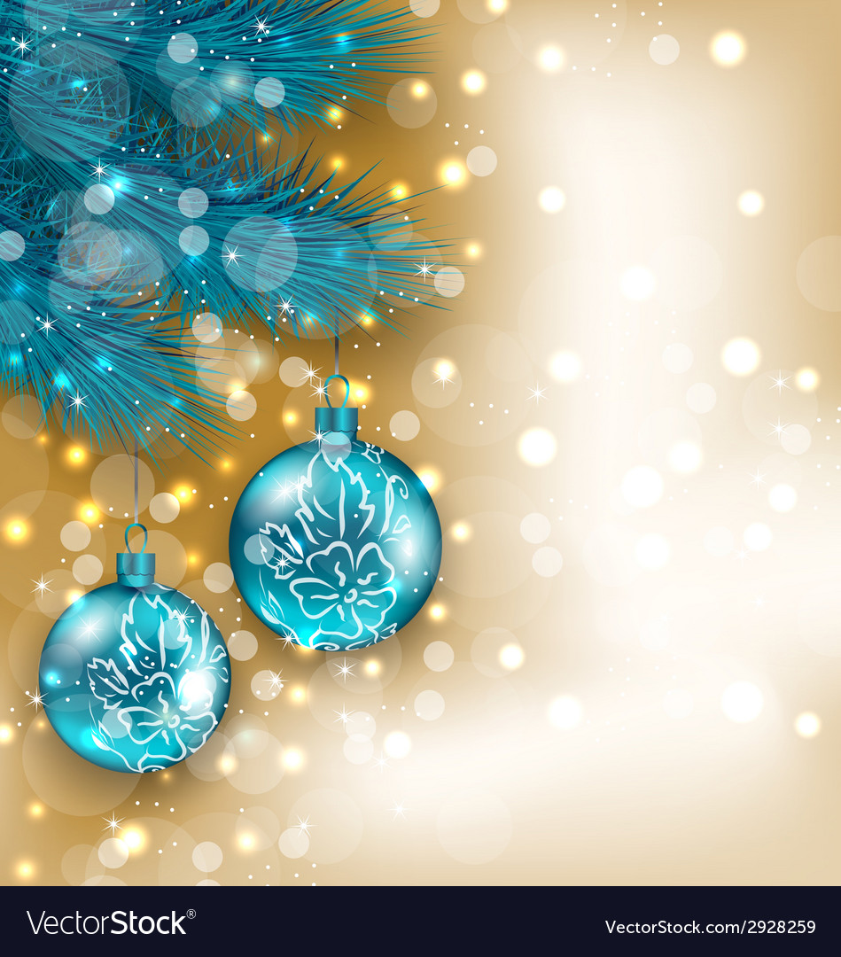 New year decoration with hanging balls on fir vector | Price: 1 Credit (USD $1)