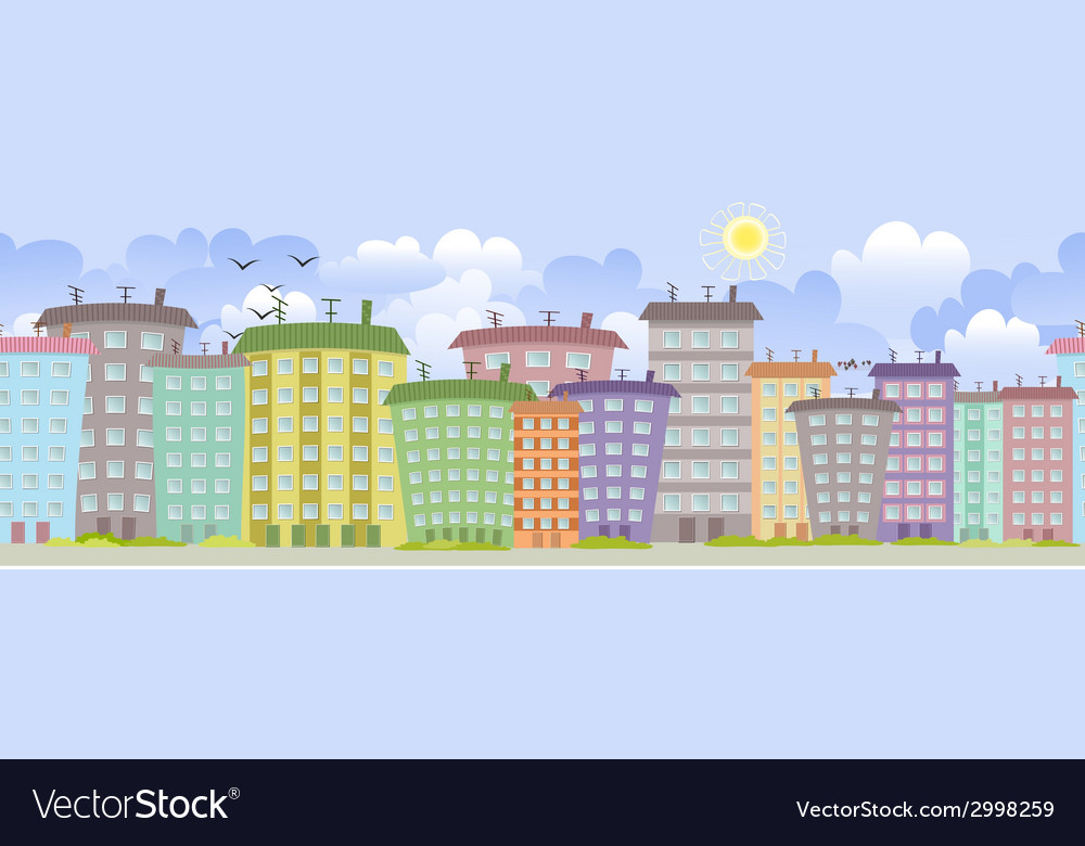 Seamless border with cute houses for you design vector | Price: 1 Credit (USD $1)