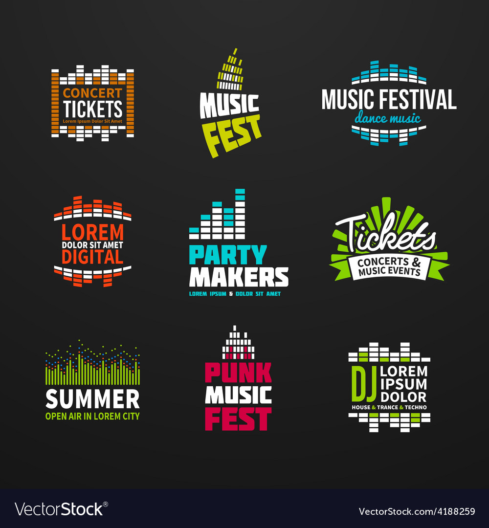 Second big set music equalizer logotype vector | Price: 1 Credit (USD $1)
