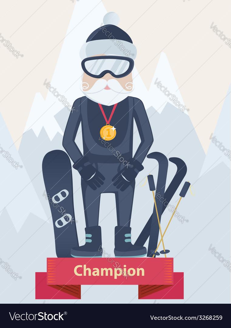 Senior man winter sports champion concept vector | Price: 1 Credit (USD $1)