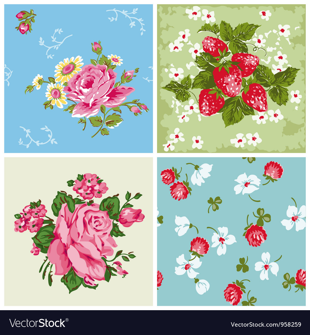 Set of seamless vintage floral backgrounds vector | Price: 1 Credit (USD $1)