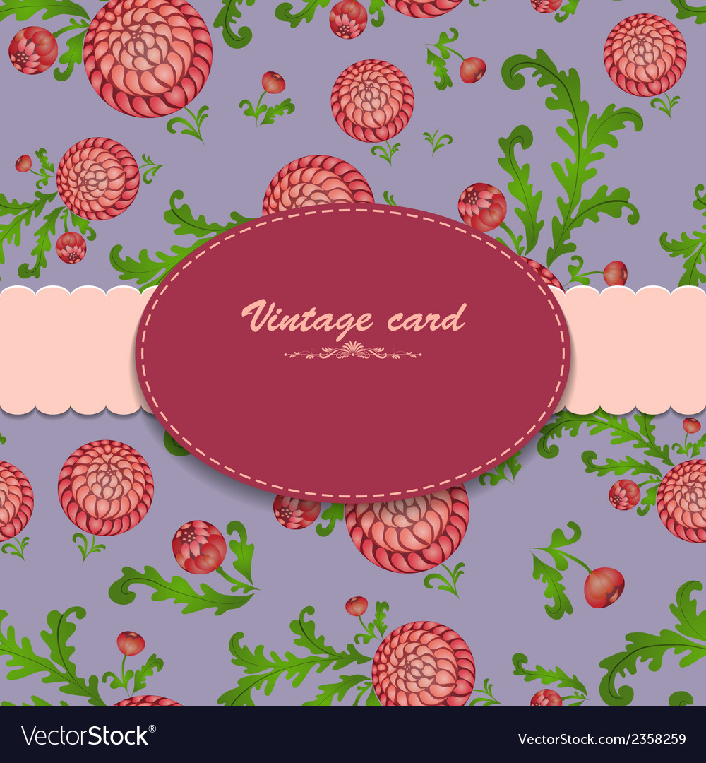 Vintage card on floral blue background vector | Price: 1 Credit (USD $1)