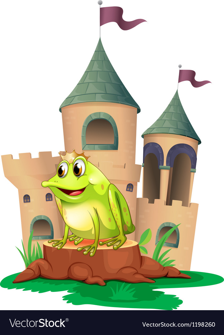 A frog prince with a castle at his back vector | Price: 1 Credit (USD $1)