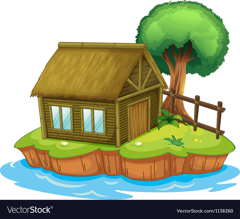 A house and tree on island vector | Price: 1 Credit (USD $1)