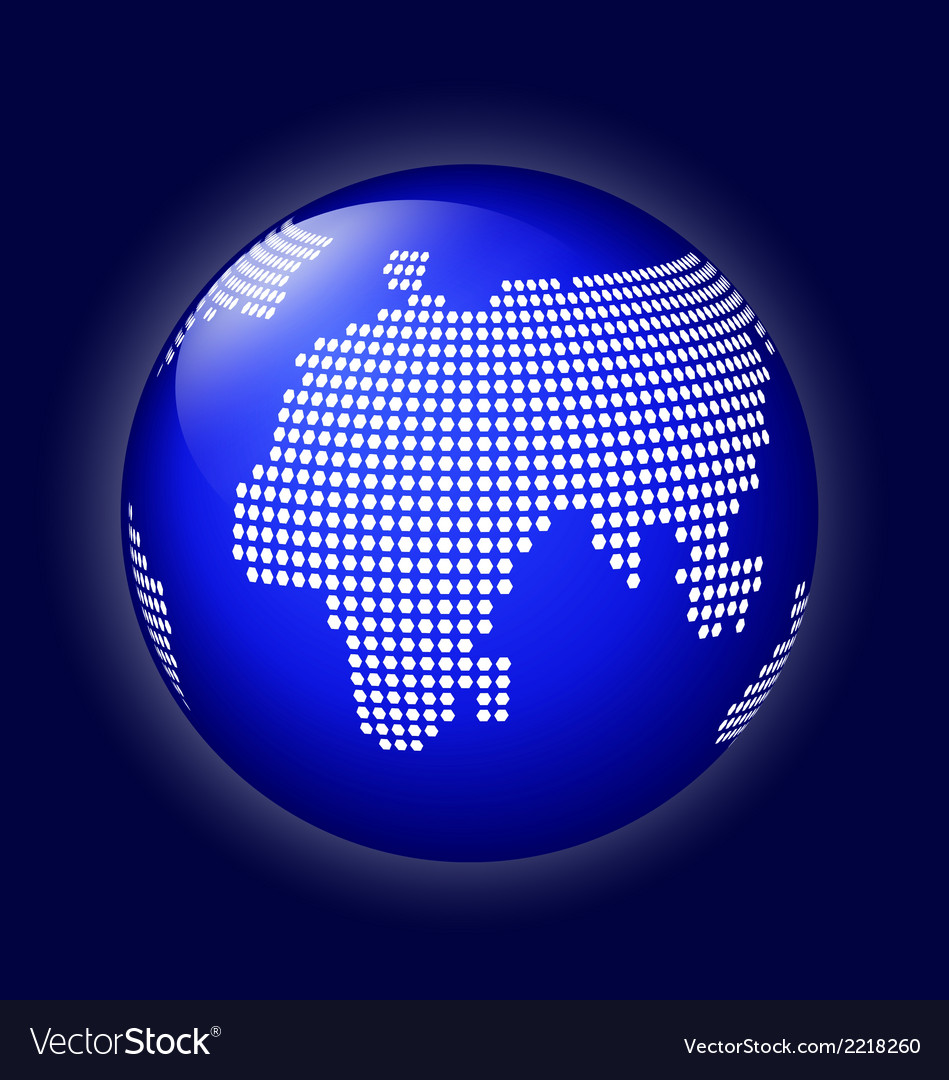 Blue globe with dotted map vector | Price: 1 Credit (USD $1)
