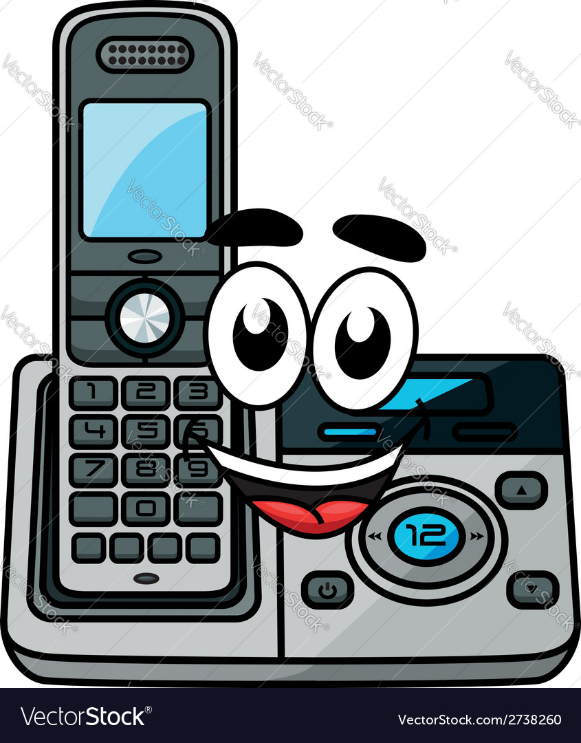 Cartoon cordless phone vector | Price: 1 Credit (USD $1)