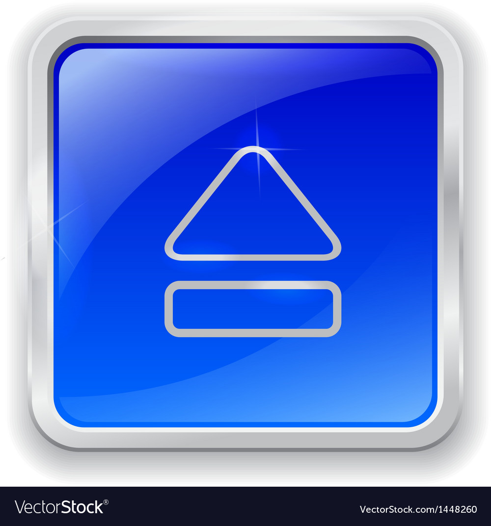 Eject icon on blue button vector | Price: 1 Credit (USD $1)
