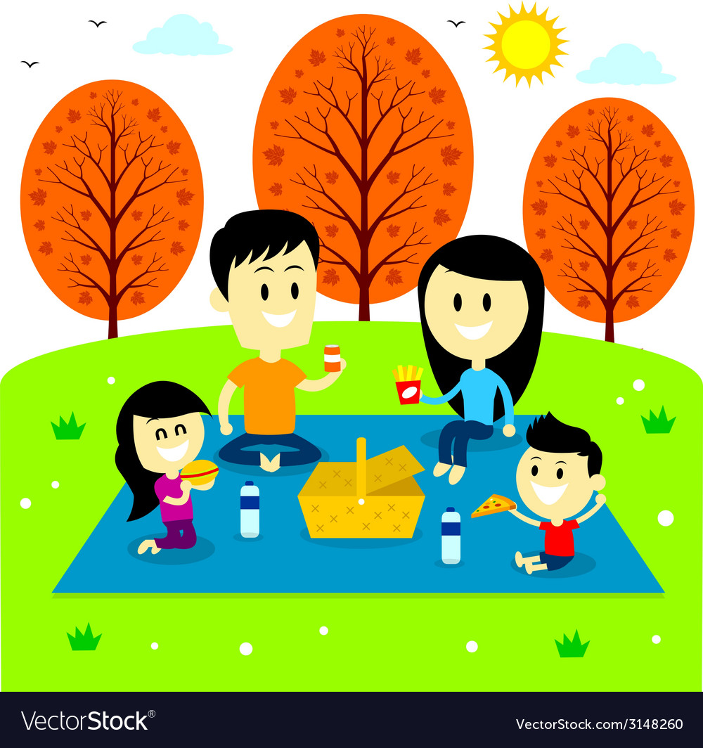 Family fun picnic at the park vector | Price: 1 Credit (USD $1)