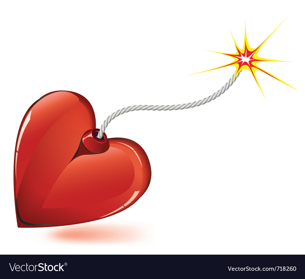 Heart love bomb vector | Price: 1 Credit (USD $1)