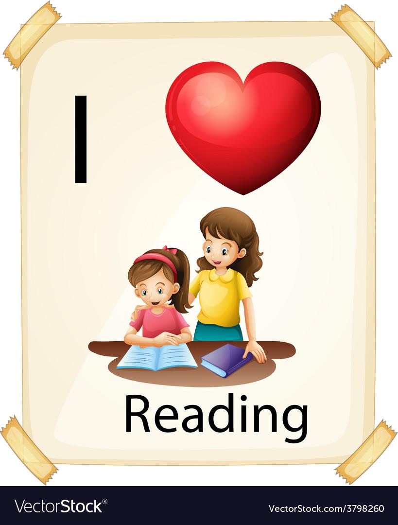I love reading vector | Price: 1 Credit (USD $1)