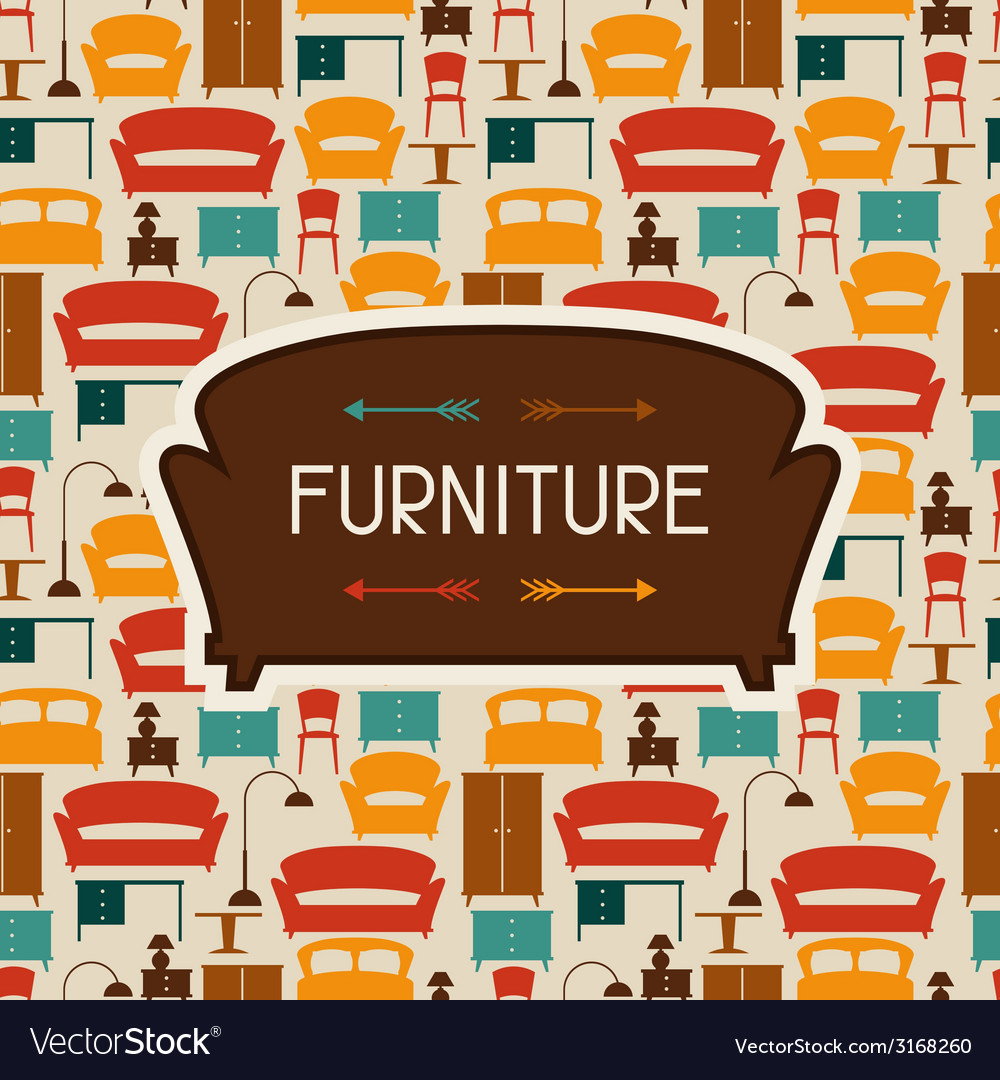 Interior background with furniture in retro style vector | Price: 1 Credit (USD $1)