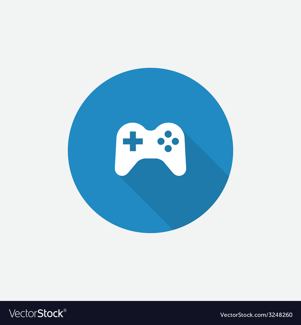 Joystick flat blue simple icon with long shadow vector | Price: 1 Credit (USD $1)