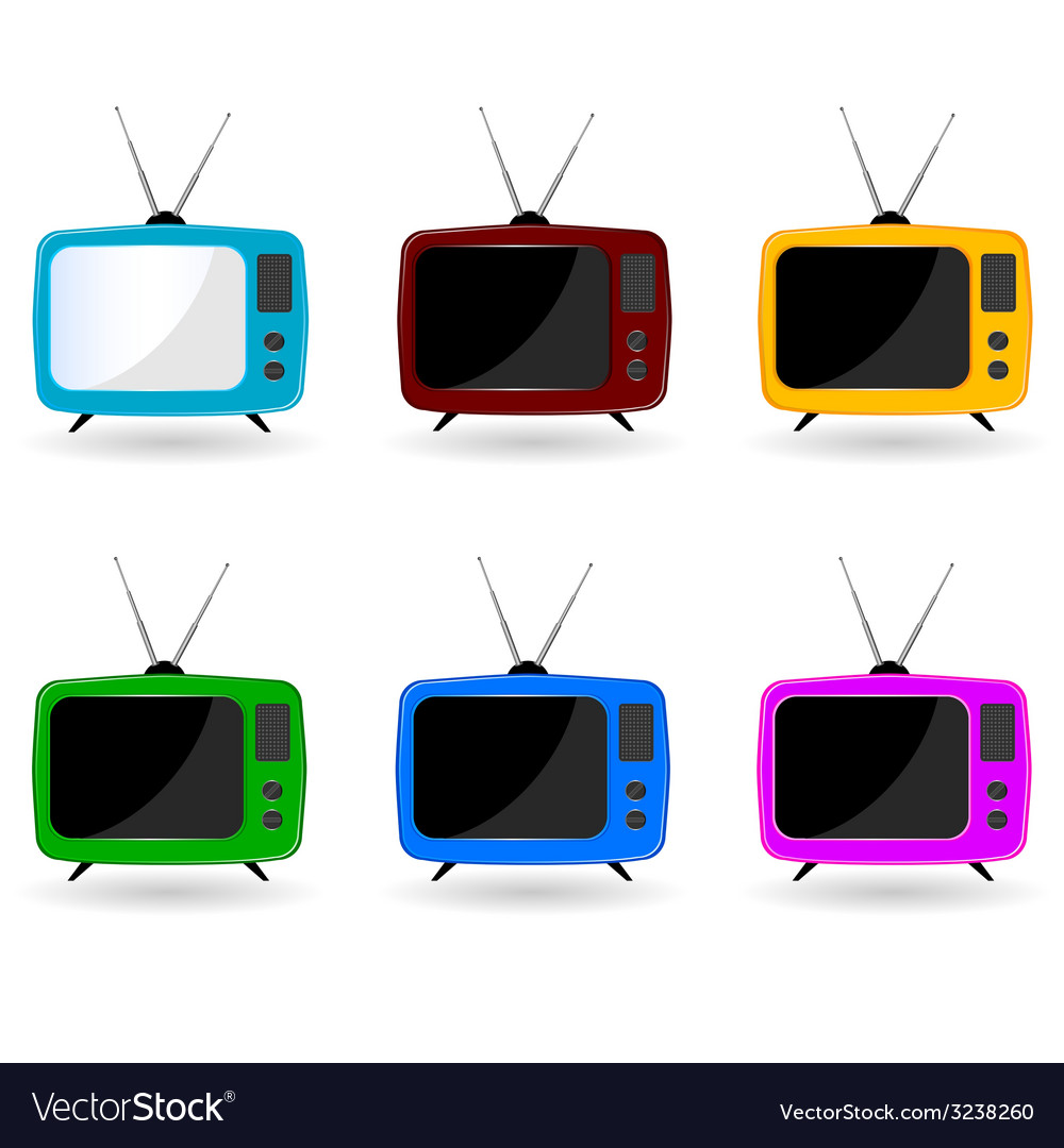Old television in six colors with antenna vector | Price: 1 Credit (USD $1)