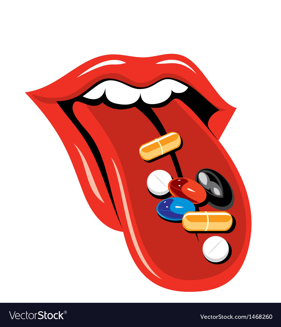 Pills and tongue vector | Price: 1 Credit (USD $1)