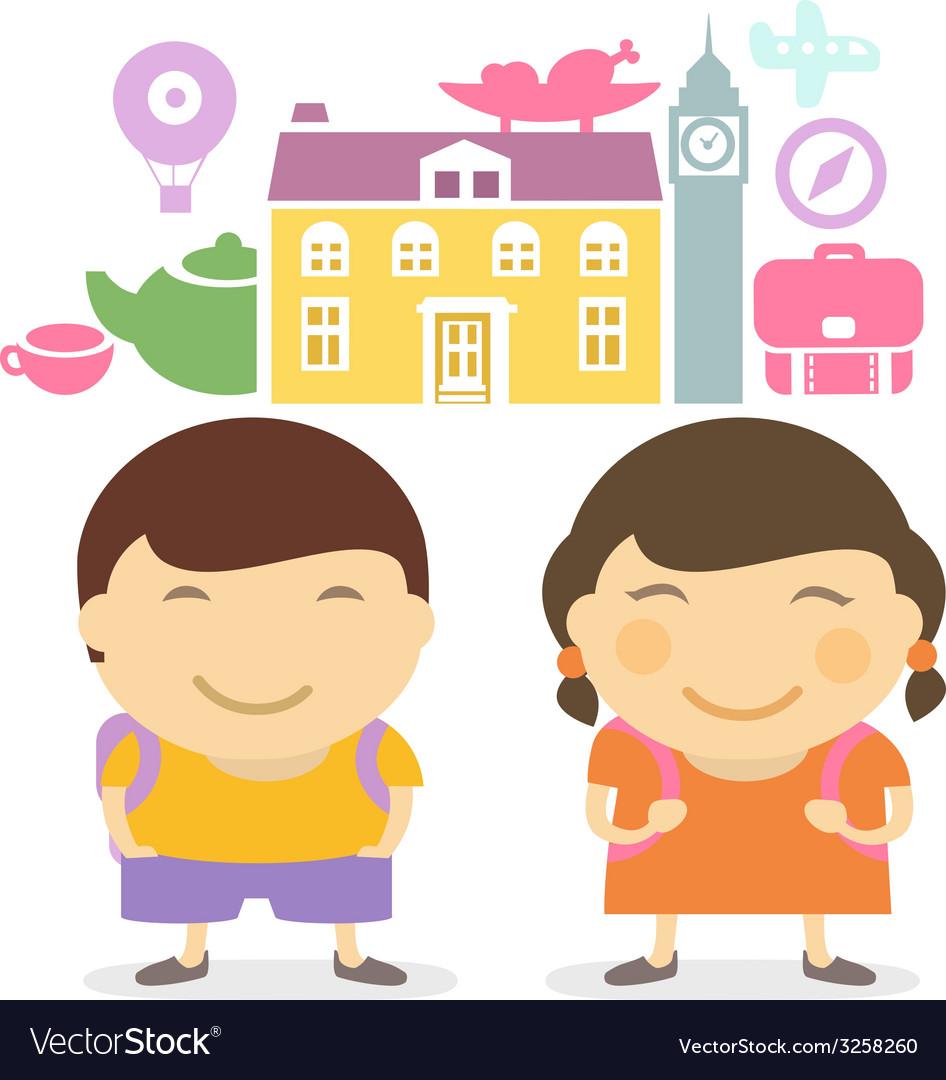 Schoolchildren travel vector   Price: 1 Credit (USD $1)